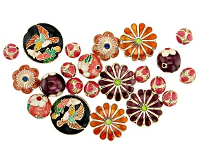 Cloisonne Style Spacer Beads in 7 Styles in Gold Tone and Enamel 22 Pieces Total