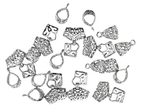 Bail Findings Kit in 2 Styles in Silver Tone 19 Pieces Total