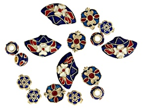 Enamel Spacer Bead Set in Gold Tone in 4 Styles 16 Pieces total