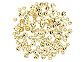 Textured Round Spacer Beads in 3 Styles in Gold Tone 110 pieces total