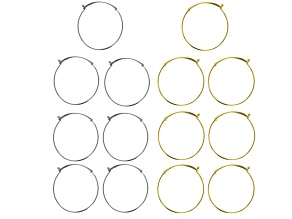 Bangle Set of 14 in Silver Tone & Gold Tone appx 7