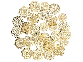 Filigree Finding Assortment in 5 Styles in Gold Tone 30 pieces total