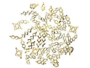 Finding Assortment in Gold Tone with Glass Crystal Stones in 5 Styles 44 pieces total