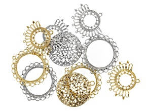 Indonesian Inspired Designer Focal Set in 3 Styles in Silver Tone & Gold Tone 10 pieces