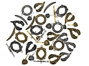 Indonesian Inspired Designer Toggle Closures Set in 4 Styles in Antique Silver & Gold Tone 19 Pieces
