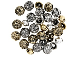 Indonesian Inspired Designer Spacer Beads Set in 4 Styles in Antique Silver & Gold Tone 33 Pieces