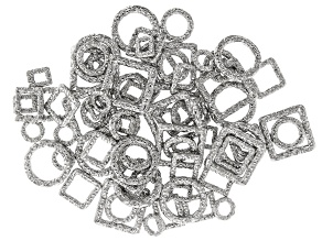 Indonesian Inspired Designer Connector Set in 7 Styles in Silver Tone 75 pieces total