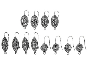 Indonesian Inspired Designer Fancy Earwire Set in 3 Styles in Antique Silver Tone 12 Pieces Total
