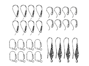 Indonesian Inspired Designer Ear Wire Set in 4 Styles in Antiqued Silver Tone 14 Pairs Total