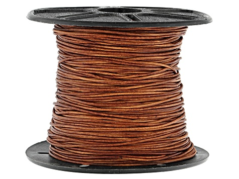 Round Leather Cord appx 1mm in Natural Light Brown appx 50 Meters Spool