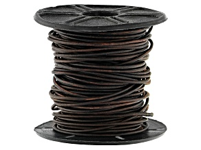 Round Leather Cord appx 1mm in Natural Antique Brown appx 10 Meter Spool