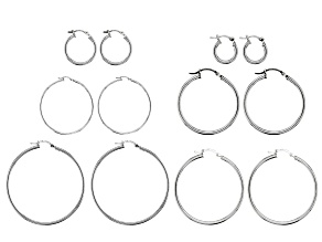 Rhodium over Sterling Silver Clutch Hoop Earring Set of 6 in assorted sizes 12 Pieces Total