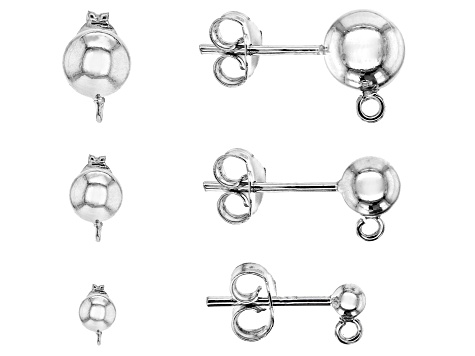 Ball Earring Post with Jumpring & Backing Set of 3 in Rhodium over Sterling Silver 6 pieces total