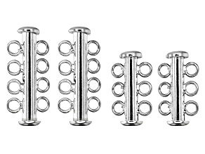 Slider Closure Set of 4 in Rhodium over Sterling Silver in 2 Sizes