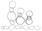 Finding Assortment in Rhodium over Sterling Silver Textured Components Set of 4 in assorted styles