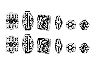 Designer Component Sterling Silver Spacer Beads in 6 Styles 12 Pieces Total