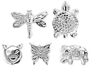 Designer Component Sterling Silver Animal Shape Beads 5 Pieces