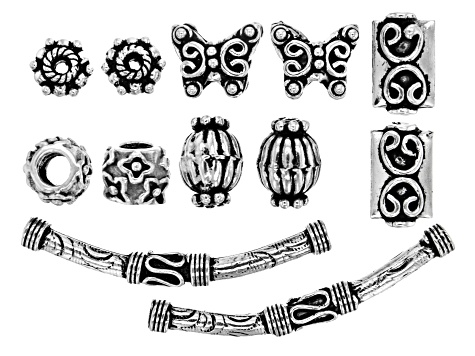 Designer Component Sterling Silver Spacer Beads in 6 Styles (12 Pieces Total)