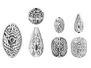 Designer Component Sterling Silver Assorted Beads in 7 Pieces