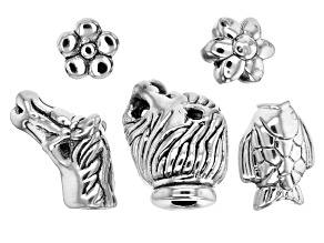Designer Component Sterling Silver Assorted Beads 5 Pieces
