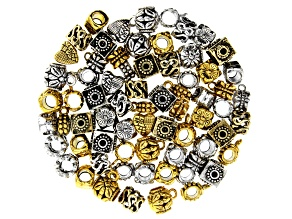 Spacer Beads in 7 Styles in Antique Silver & Gold Tone 70 Pieces Total