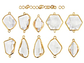 Crystal Glass in Gold Tone Frame Connector Set in Assorted Shapes and Jump Rings 30 Pieces Total