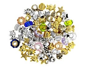 Under The Sea Assorted Style Large Hole Beads and Glass Rondelles Includes Appx 60 Pieces Total