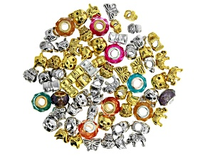 Assorted Large Hole Beads in Animal Shapes and Glass Rondelles Includes Appx 70 Pieces Total