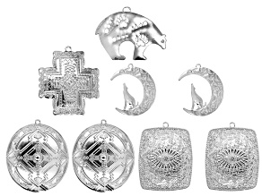 Southwest Inspired Large Focal Assortment in Silver Tone in 5 Styles 8 Pieces Total