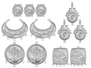 Southwest Inspired Dangle Pendant & Bracelet Components in Silver Tone in 5 Styles 12 Pieces Total