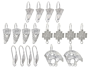 Southwest Inspired Shepard Hook Earring Component Set in 5 Styles in Silver Tone 9 Sets Total