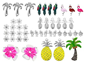 Summer Set of Assorted Pendant Findings in 10 Styles in Silver Tone with Enamel 46 pieces total