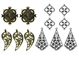 Italian Inspired Component Set of 4 Styles 12 Pieces Total in Antique Gold & Silver Tone