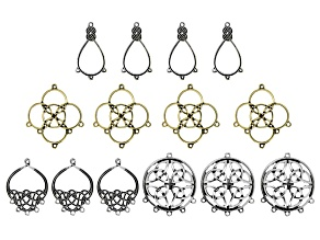 Irish Inspired Components in 4 Styles in Antique Silver Tone & Antique Gold Tone 14 Pieces Total