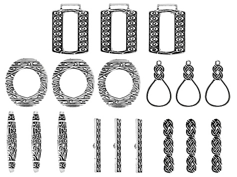 Irish Inspired Toggle Clasps in Antique Silver Tone in 3 Styles 9 Sets with 18 Pieces Total