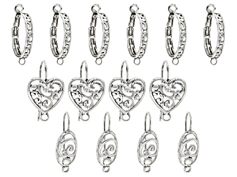 Earring Components in 3 Styles in Antique Silver Tone 7 Sets Total