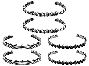 "Bangle Set of 3 Styles in Antique Silver Tone 6 Pieces Total Appx 2.5"" in Diameter"