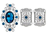 Victorian Inspired Focal Set of 5 in Silver Tone with Blue Crystal Rhinestone Accents
