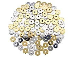 Spacer Beads appx 8mm Disc Shape in Gold Tone and Silver Tone appx 120 Pieces Total