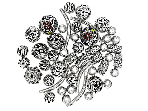 Assorted Accent Components in 7 Styles in Silver Tone Appx 48 Pieces