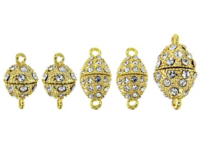 Magnetic Clasp Connectors with Glass Crystal Includes 3 Styles in Gold Tone 5 Pieces Total
