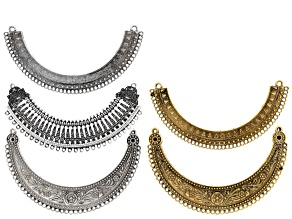 Focal Collar Set of 5 in 3 Styles in Antique Silver & Gold Tone