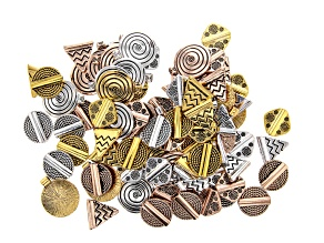 Slider Beads in 4 Styles in Antique Gold, Silver & Rose Gold Tone 84 Pieces Total