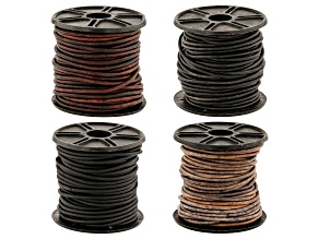 Leather Cord appx 2mm Round Set of 4 in Assorted Colors appx 10M each