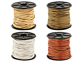 Metallic Leather Cord Round appx 1.5mm Set of 4 in Assorted Colors appx 10M each