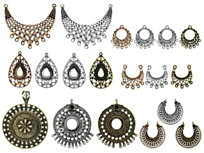 Earring & Pendant Components Sets in 7 Styles & Assorted Antique Tones 19 Pieces Total
