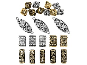 Assorted Findings & Components Set in 4 Styles & Antique Silver, Brass & Antique Gold Tone 23 Pieces