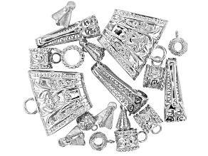 Assorted Bail Set includes 5 Styles in Silver Tone 18 Pieces Total
