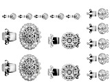 Box Clasp Set in 4 Styles in Rhodium Tone 14 Pieces Total