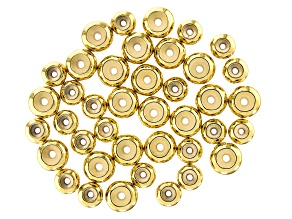 Sliding Clasp Silicone Beads in 2 Sizes in Gold Tone 40 Pieces Total